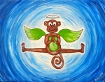 """My Monkey Angel"" Kids yogArt 11"" x 14"" (sold)"