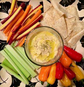 Organic Hummus Plate w/Rainbow Carrots, Celery, Sweet Peppers, & Cassava Chips
