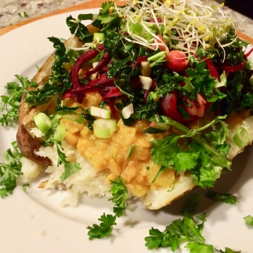 Organic Baked Potato topped w/Yellow Split Pea Curry, Sautéed Kale/Beet/Onion/Garlic/Chickpea/Lemon Medley, Green Onions, Parsley, Cilantro, & Broccoli Sprouts