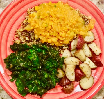 Organic Split Pea Yellow Curry over Cauliflower/Quinoa Rice w/side of Swiss Chard and Red Potatoes
